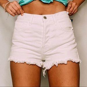 Brandy Melville white denim shorts